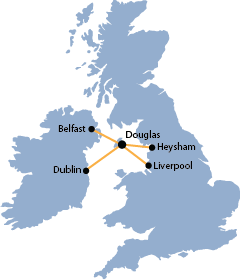 Ferry routes to and from the Isle of Man